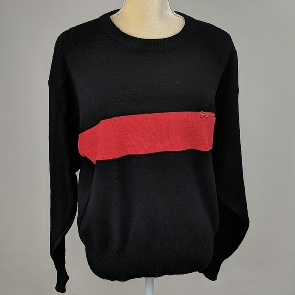 Vintage Other - Vintage Salom Black w/ Red Stripe Wool Ski Sweater